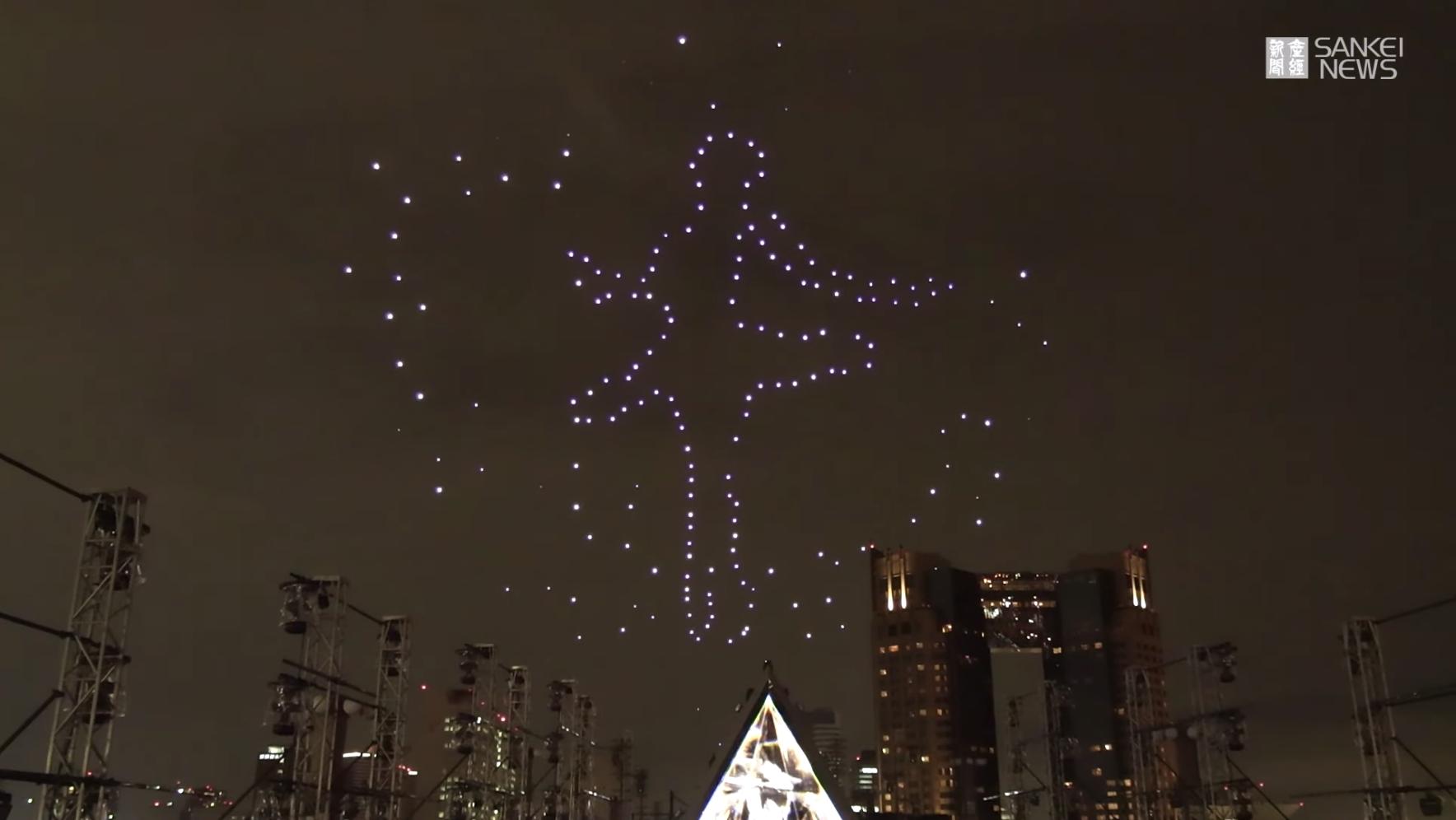 圧巻!【ドローン500機】東京の夜空に光のショー
